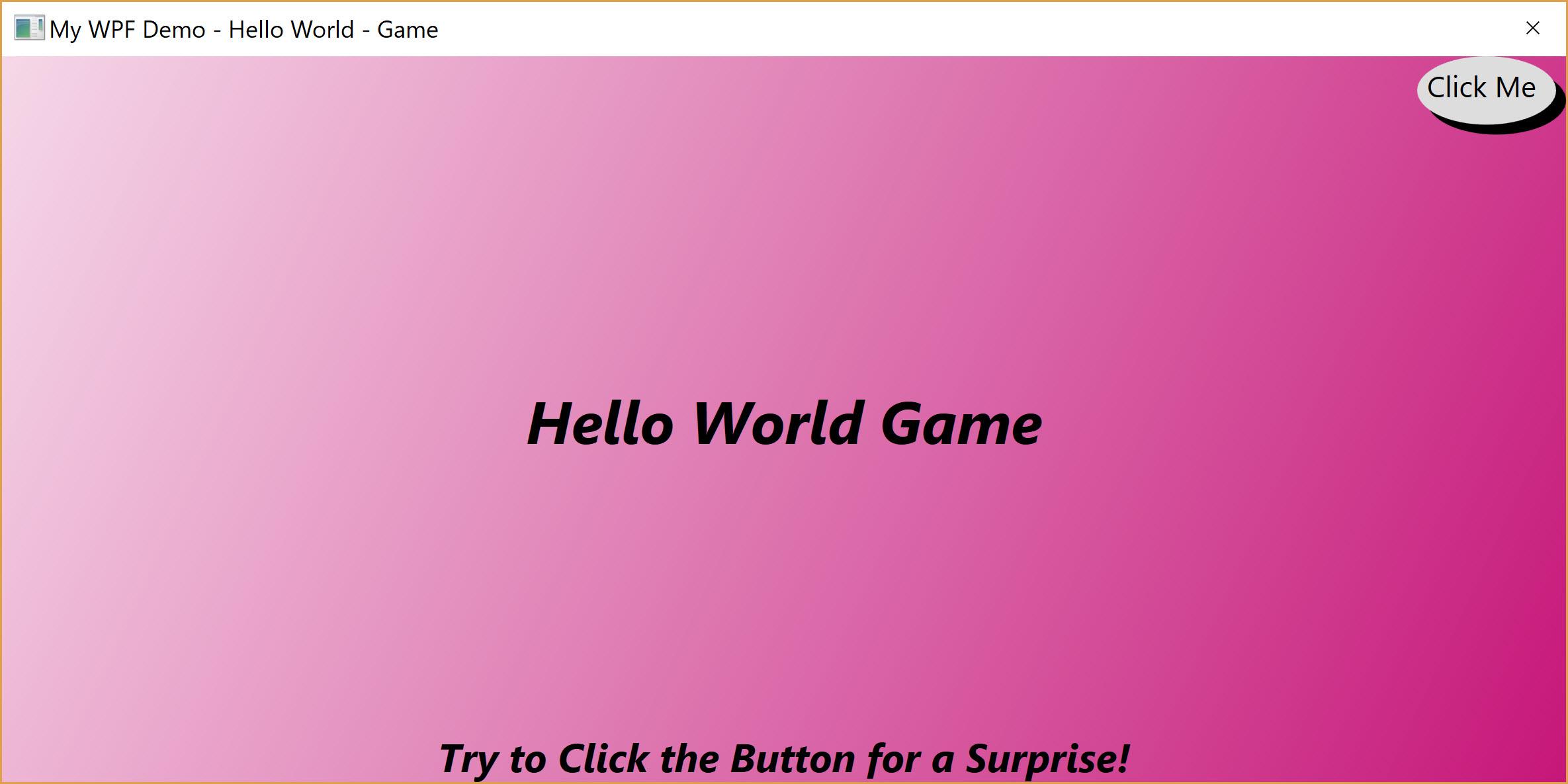 Hello World Game Main Display